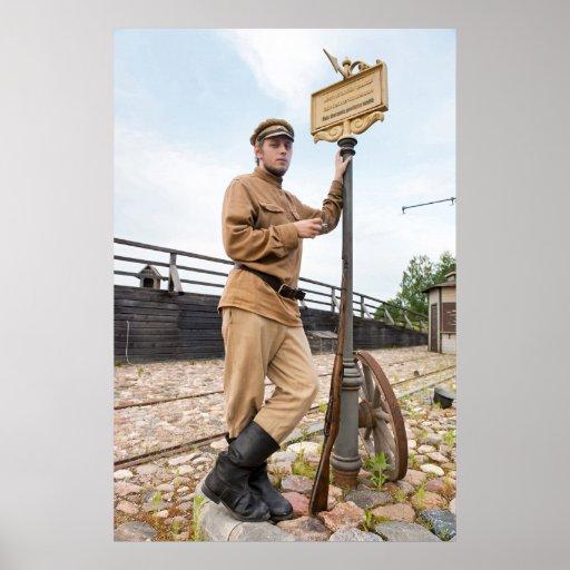 Imagen retra del estilo con el soldado en la parad póster