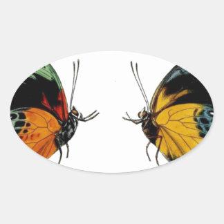 Imagen retra hermosa de las mariposas del vintage pegatina ovalada