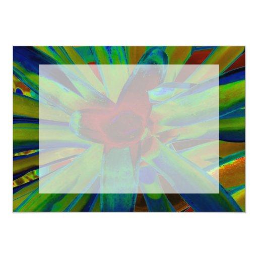 """Imagen roja azulverde de la planta de Bromeliad Invitación 5"""" X 7"""""""