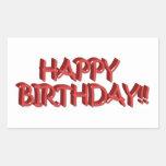 Imagen roja vidriosa del texto del feliz cumpleaño rectangular pegatinas