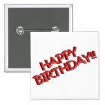 Imagen roja vidriosa del texto del feliz cumpleaño pin