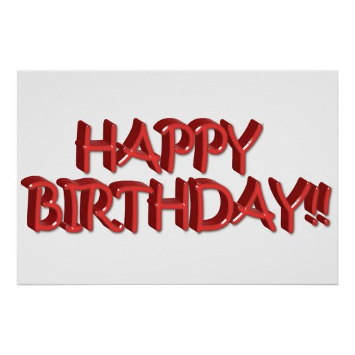 Imagen roja vidriosa del texto del feliz cumpleaño póster