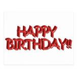 Imagen roja vidriosa del texto del feliz cumpleaño tarjetas postales