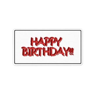 Imagen roja vidriosa del texto del feliz etiqueta de dirección