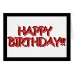 Imagen roja vidriosa del texto del feliz tarjeta de felicitación