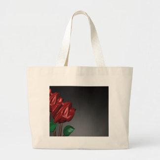 imagen romántica del arte de los rosas 3D Bolsa Tela Grande