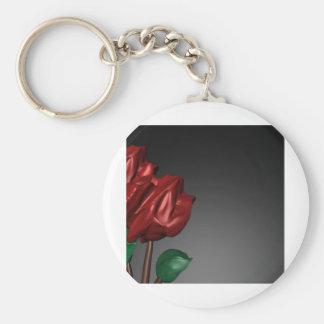imagen romántica del arte de los rosas 3D Llavero Redondo Tipo Pin