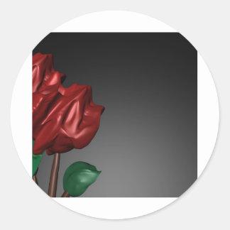 imagen romántica del arte de los rosas 3D Pegatina Redonda