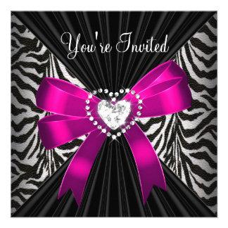 Imagen rosada de la fiesta de cumpleaños del negro comunicados personalizados