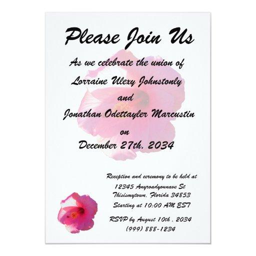 imagen rosada de la flor del hibisco invitación 12,7 x 17,8 cm