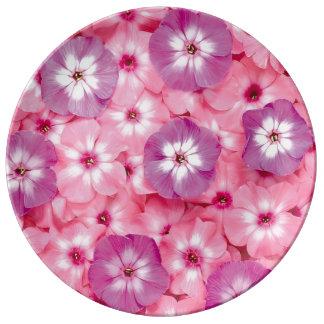 Imagen rosada de la flor para la placa decorativa platos de cerámica