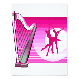 """Imagen rosada del gráfico de la versión de la arpa invitación 4.25"""" x 5.5"""""""