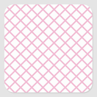 Imagen rosada femenina 9 del modelo del enrejado pegatina cuadrada