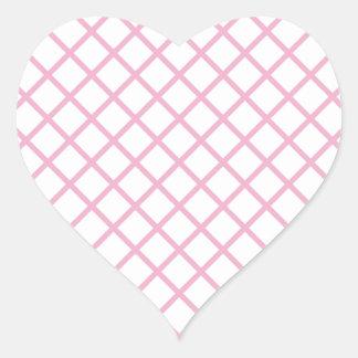 Imagen rosada femenina 9 del modelo del enrejado pegatina en forma de corazón