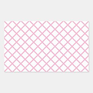 Imagen rosada femenina 9 del modelo del enrejado pegatina rectangular