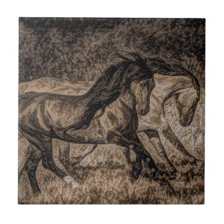 Imagen rugosa del funcionamiento de dos caballos s azulejo cerámica