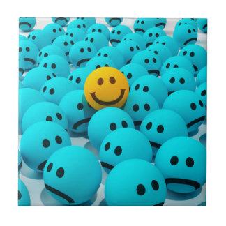 Imagen sonriente de la diversión de la cara azulejo cuadrado pequeño