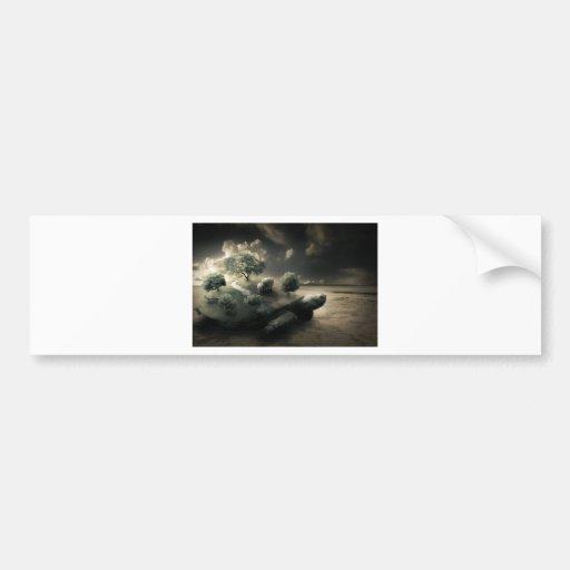 Imagen surrealista de la tortuga etiqueta de parachoque