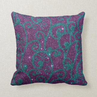 Imagen swirly de la púrpura y del brillo de la tur almohadas