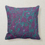 Imagen swirly de la púrpura y del brillo de la tur cojin