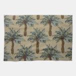 Imagen tropical de la tela de las palmeras toallas de mano
