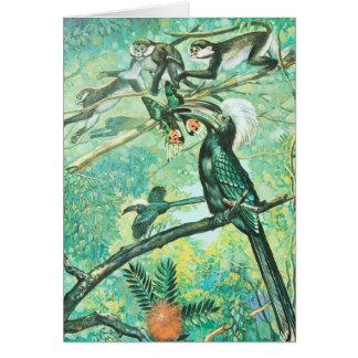 Imagen verde tropical, pájaro y Monkies Tarjeta De Felicitación