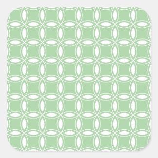 Imagen verde y blanca 36 del sauce suave del pegatina cuadrada