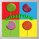 Imágenes coloridas de los Lollipops del caramelo d Posters