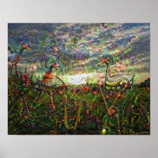 Imágenes de DeepDream, paisajes Póster