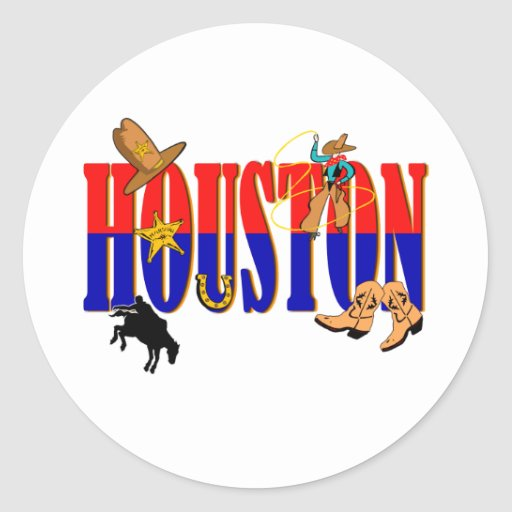 Imágenes de Houston Pegatina Redonda