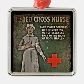 Imágenes de la obtención de fondos de la enfermera adorno cuadrado plateado
