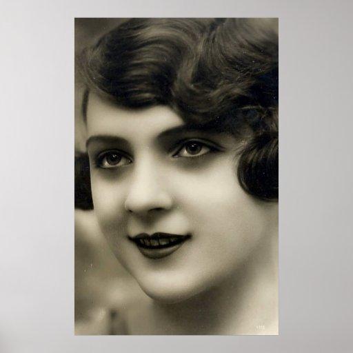 Imágenes de la postal de la vintage mujer póster