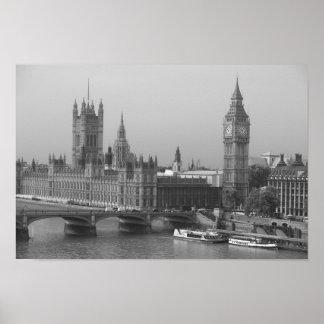 Imágenes de Londres: Negro y blanco de Big Ben: Po Posters