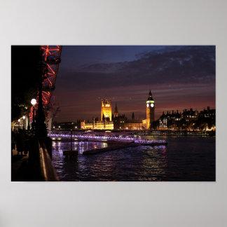 Imágenes de Londres: Puesta del sol de Thames: Pos Poster