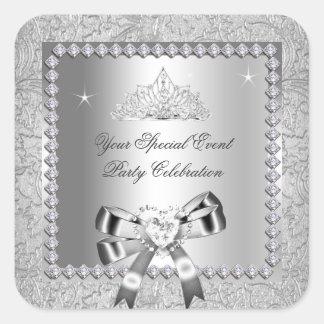Imágenes de plata del corazón del arco de la tiara pegatina cuadrada