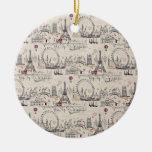 Imágenes negras y blancas del vintage de Europa Ornamento De Navidad