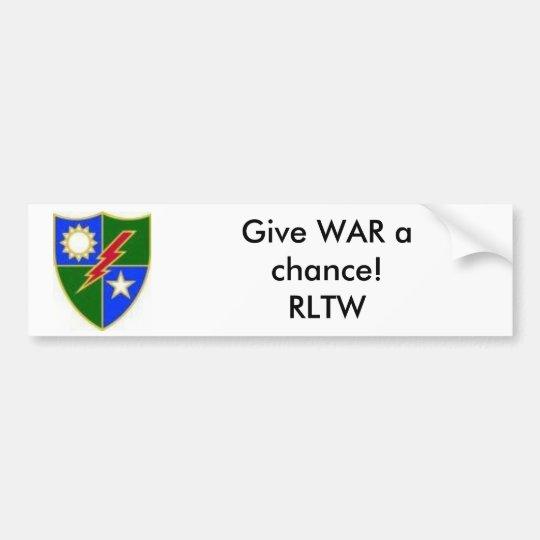 images[6], Give WAR a chance!RLTW Bumper Sticker