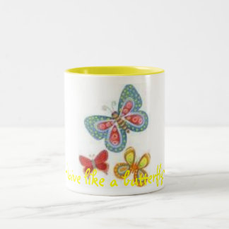 images, ~Live like a butterfly~ Two-Tone Coffee Mug