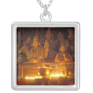 Images of Lamas at the Sara Monastery, Lhasa, Silver Plated Necklace