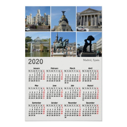 Images of Madrid 2020 calendar Poster