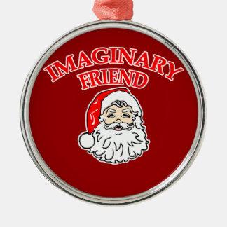 Imaginary Friend Santa Claus Round Metal Christmas Ornament