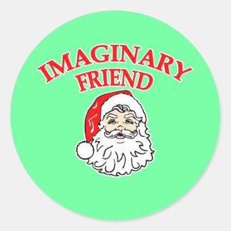 Imaginary Friend Santa Claus Round Stickers
