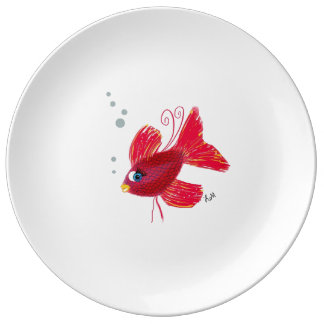 Imaginary Red Fish Dinner Plate
