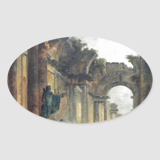 Imaginary View of the Grand Gallery of the Louvre Oval Sticker