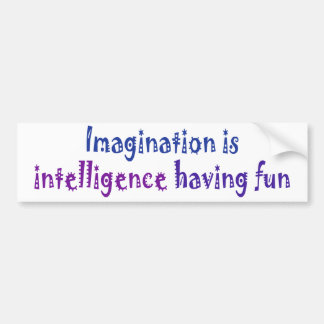 Imagination is intelligence having fun. bumper sticker