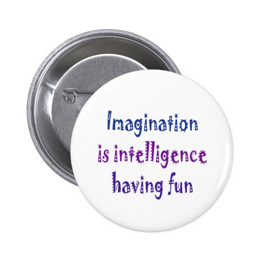 Imagination is intelligence having fun. pinback button