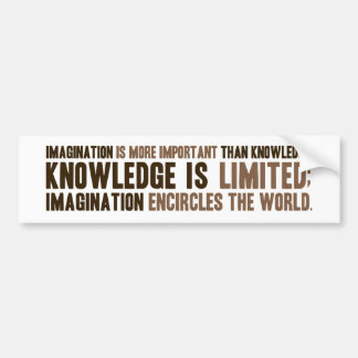 Imagination is more important than knowledge car bumper sticker