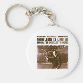 Imagination is more important than knowledge basic round button keychain