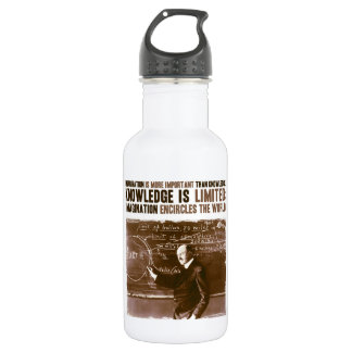 Imagination is more important than knowledge stainless steel water bottle