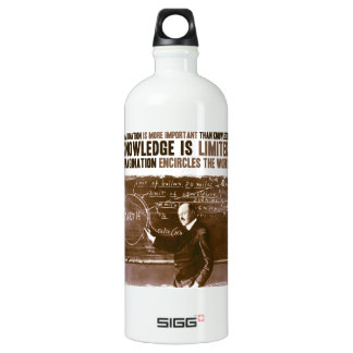 Imagination is more important than knowledge water bottle